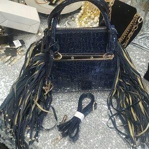 Navy Faux Patent Leather Handbag (NWOT)